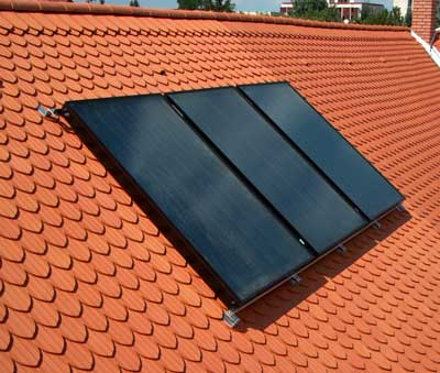 Solar collector on roof